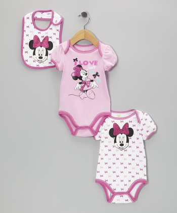 Pink Bow Minnie Bodysuit Set - Infant