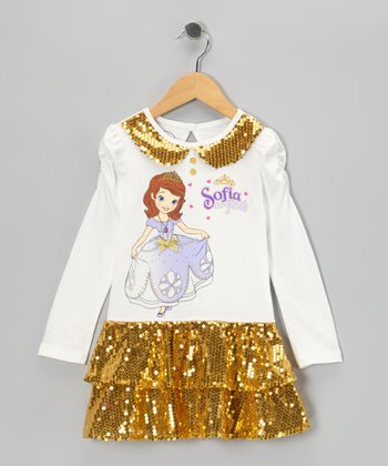 Gold Shimmer 'Sofia' Dress - Toddler