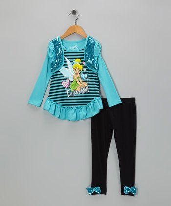 Teal Tinker Bell Layered Top & Leggings - Toddler