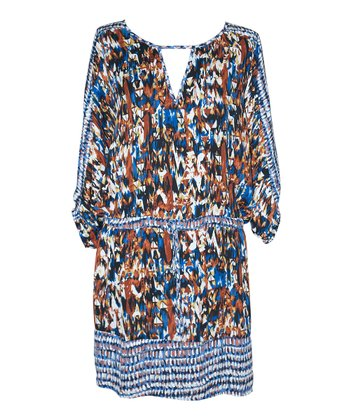 Royal Blue & Rust Abstract Julia Tunic