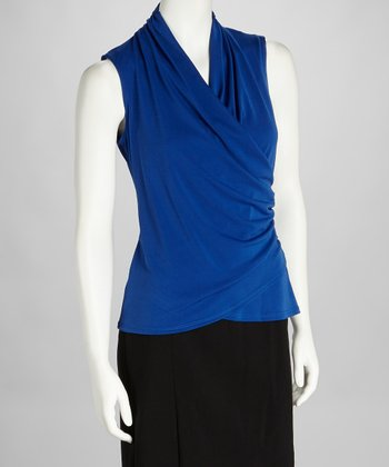 Royal Blue Surplice Sleeveless Top