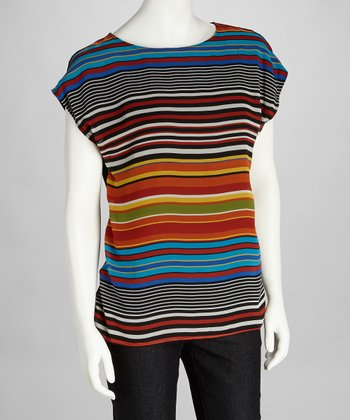 Blue & Orange Stripe Cap-Sleeve Top