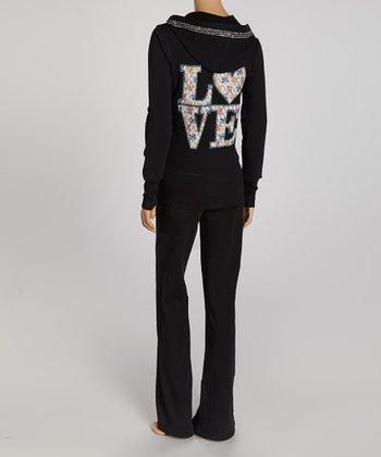 Black & White Embellished 'Love' Zip-Up Hoodie & Lounge Pants