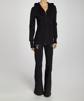 Black & White Embellished Wing-Framed Cross Zip-Up Hoodie & Lounge Pants