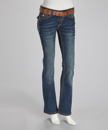 Blue Chrome Blast Kennedy Belted Bootcut Jeans