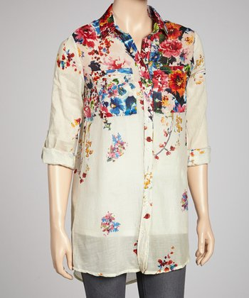Cream & Red Floral Button-Up