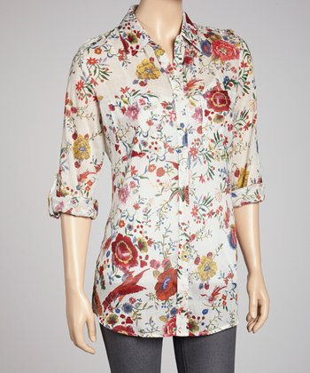Ivory & Red Floral Button-Up