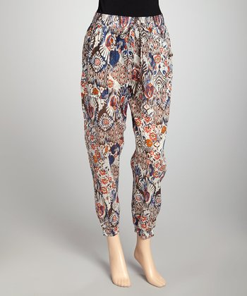 Ivory & Brown Floral Harem Pants