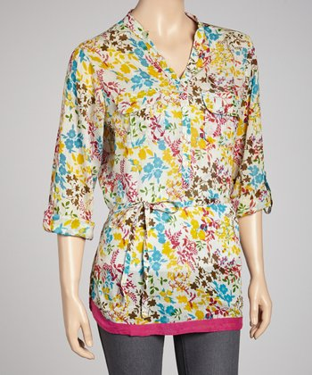 Cream & Blue Floral Button-Up Tunic