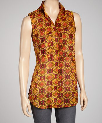 Red & Yellow Sleeveless Button-Up Tunic