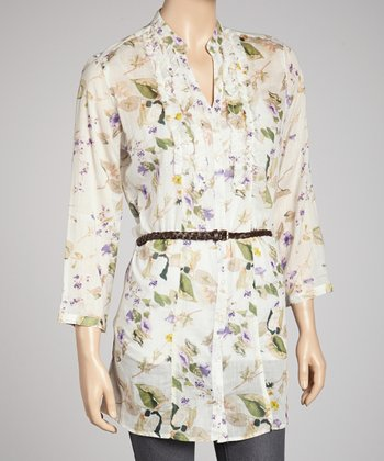Ivory & Blue Floral Belted Button-Up Tunic