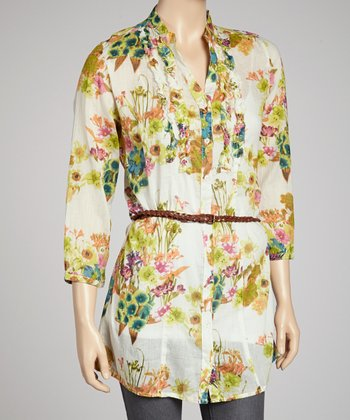 Ivory Floral Belted Button-Up Tunic