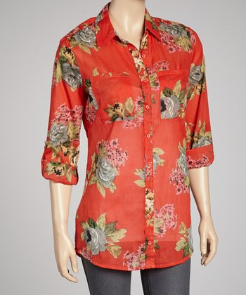 Red Floral Button-Up Tunic