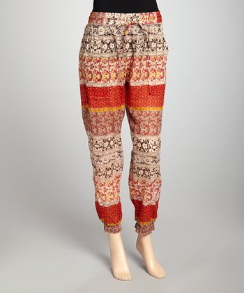 Taupe & Rust Harem Pants