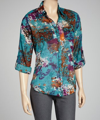 Turquoise Floral Button-Up