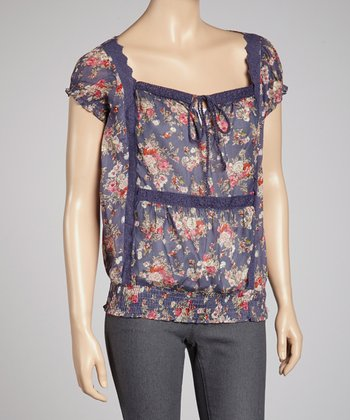 Denim Blue Floral Peasant Top