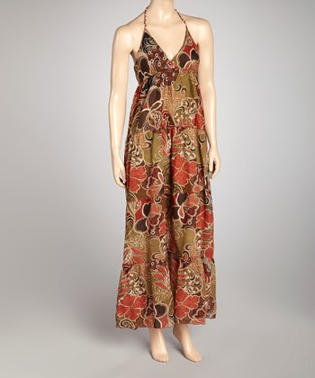 Brown Floral Halter Maxi Dress