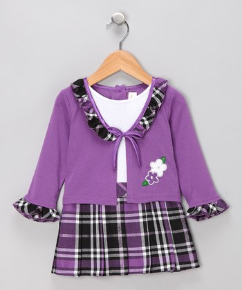 Purple Plaid Layered Dress - Infant