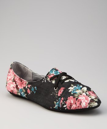 Black Floral Calan Oxford