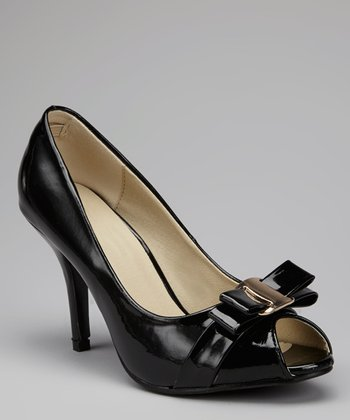Black Chavas Peep-Toe Pump