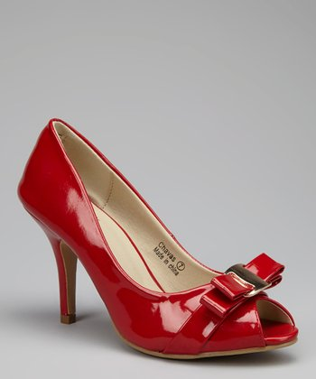 Red Chavas Peep-Toe Pump