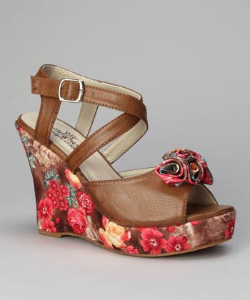 Brown Rosita Printed Bloom Wedge Sandal