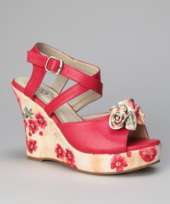 Fuchsia Rosita Printed Bloom Wedge Sandal