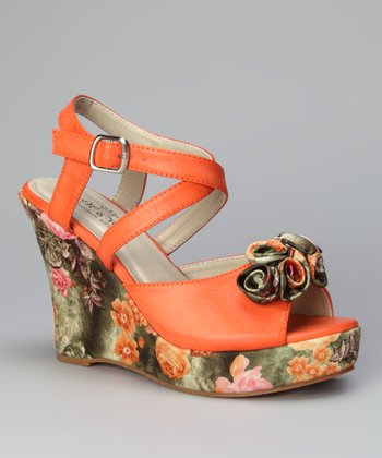 Orange Rosita Printed Bloom Wedge Sandal