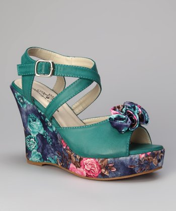 Sea Green Rosita Printed Bloom Wedge Sandal