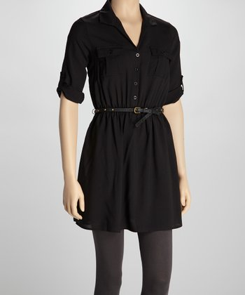 Black Belted Shirt Dress