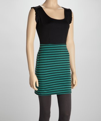 Black & Jade Stripe Cap-Sleeve Dress