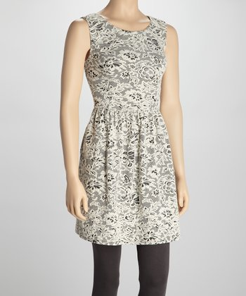 Cream & Black Lace Sleeveless Dress