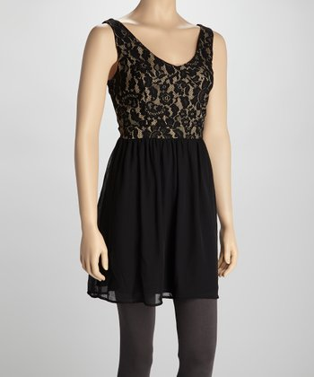 Natural & Black Lace Dress