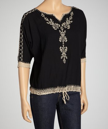 Black Embroidered Crochet Top