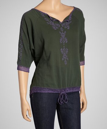 Green Embroidered Crochet Top