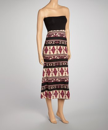 Burgundy & Black Convertible Maxi Skirt