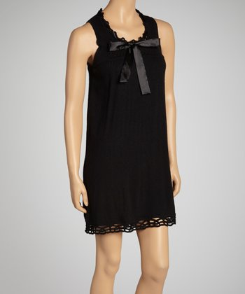 Black Bow Crochet Dress