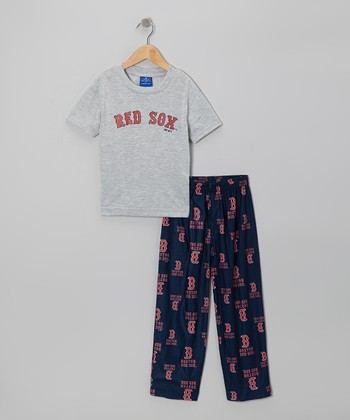 Gray & Black Boston Red Sox Pajama Set - Boys