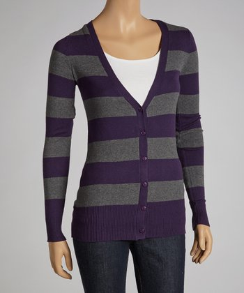 Blackberry & Heather Stripe Cardigan