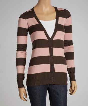 Coffee & Peach Stripe Cardigan