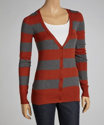 Rust & Charcoal Stripe Cardigan