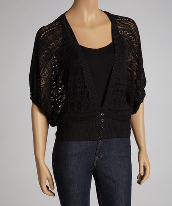 Black Sheer Dolman Cardigan