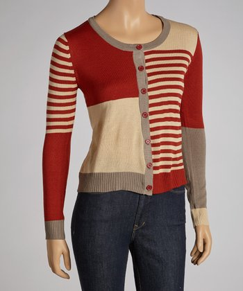 Red & Taupe Color Block Cardigan