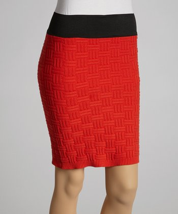Red Sweater Pencil Skirt