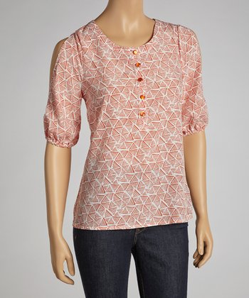 Coral & White Three-Quarter Sleeve Cutout Top