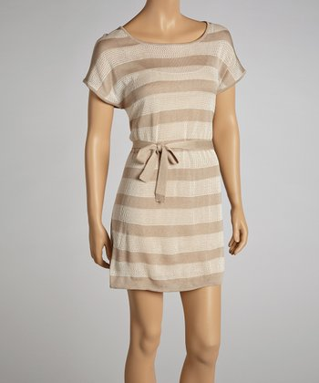 Cork & Oatmeal Stripe Sweater Dress