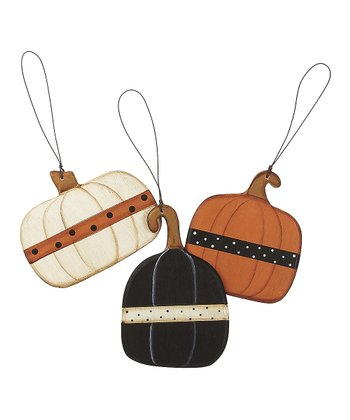 Polka Dot Pumpkin Ornament Set