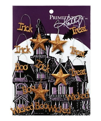 Orange Halloween Glitter Ornament Set
