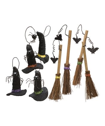 Broom & Hat Fabric Ornament Set