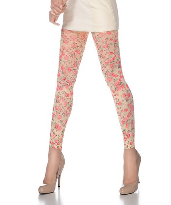 Classic Rose Footless Tights - Women